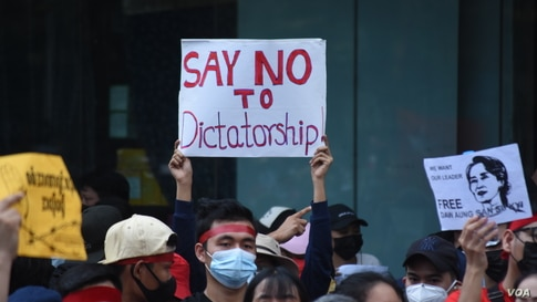 People gather to protest against the military coup in Yangon, Myanmar, Feb. 7, 2021. (Credit: VOA Burmese Service)