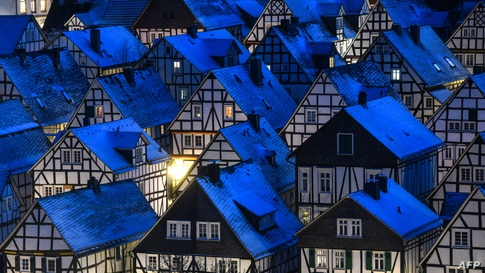 "The architectural monument ""Alter Flecken"" with 80 half-timbered houses are seen in the old town of Freudenberg, western Germany, Feb. 13, 2021."