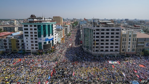 Protesters take part in a demonstration against the military coup in Mandalay, Myanmar, Feb. 22, 2021.