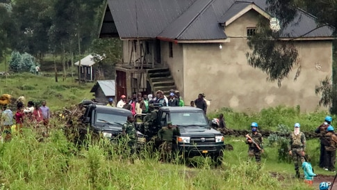 United Nations peacekeepers guard the area near to where a U.N. convoy was attacked and the Italian ambassador to Congo killed, in Nyiragongo, North Kivu province, Congo.