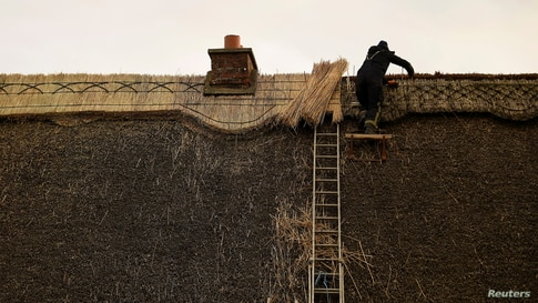 Thatcher Micheal Fahy repairs the comb of the roof on a 200-year-old cottage in Galway, Ireland, Feb. 10, 2021.
