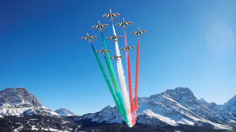 "The aerobatic demonstration team of the Italian Air Force, The Frecce Tricolori (""Tricolor Arrows""), performs before the start of the Alpine World Ski Championships in Cortina d'Ampezzo, Italy."