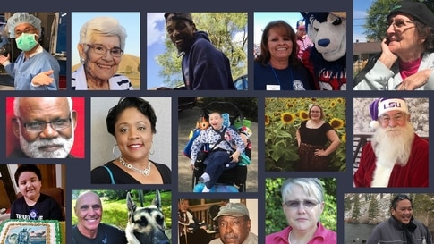 Top row, left to right: Zoilo Saavedra, 56, Folsom, CA; Lila Schneider, of Goodyear, AZ; Shawn Griffin, 61, of Harrisburg, PA; Darlene Pool, 61, of Pueblo, CO; Elizabeth Bendes of Bay City, MI. Second row: Dr John Carter, Jr., 85, of Poughkeepsie, NY; Rosalind Underwood, 55, of Louisville, KY; Charlie Correll, 10, of Staten Island, NY; Allison Jensen, 27, of Buffalo, NY; Bob McDonald, Sr., 76, of Livingston, LA. Third row: JJ Boatman, 9, of Vernon, TX; Michael Bianco, Sr., 63, of Savannah, GA; Hughie Lightn