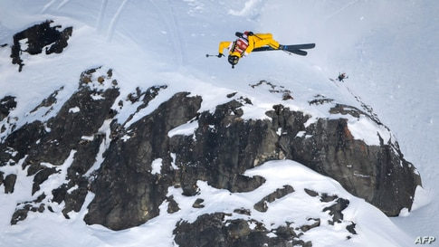 Australian skier Blake Marshall competes in the Verbier Xtreme Freeride World Tour final on the Bec de Rosses mountain above the Swiss Alps resort of Verbier.
