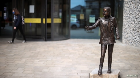 A statue of Swedish climate change activist Greta Thunberg is seen at Winchester University in Winchester, Britain.