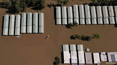 Flooding is seen at the Hawkesbury River northwest of Sydney in Wisemans Ferry, Australia. More than 40,000 residents have been forced to flee their homes as torrential rain sparked dangerous flash floods in Sydney's western regions.