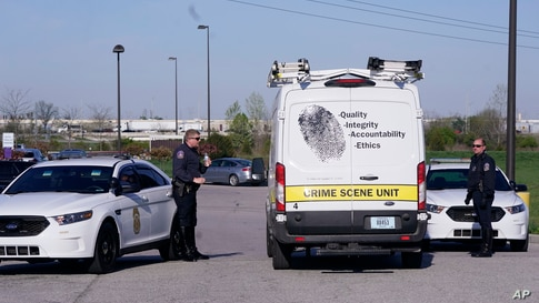 A crime scene vehicle arives where multiple people were shot at the FedEx Ground facility early Friday morning, April 16, 2021.