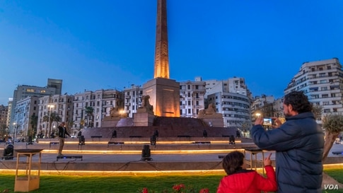 Cairo's Tahir Square was decorated with an ancient obelisk, April 3, 2021