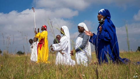 Apostolic Pentecostals celebrate Easter in field in the Johannesburg township of Soweto, South Africa.