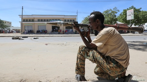 A Somali military officer supporting Hawiye opposition leaders is seen on the street of Yaqshid district of Mogadishu.