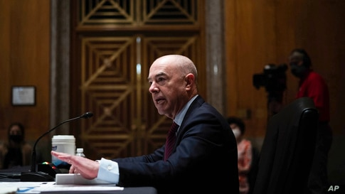 Homeland Security Secretary Alejandro Mayorkas testifies before a Senate Homeland Security and Government Affairs Committee…
