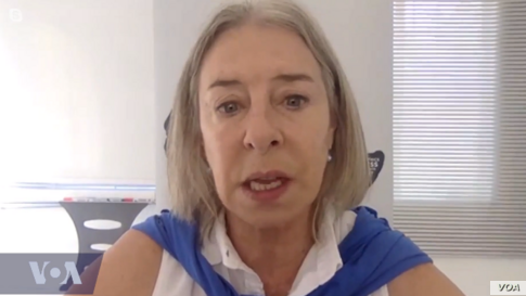 """This screen capture from """"VOA Our Voices 319: Three Decade Quest for Press Freedom"""" shows Gwen Lister, who co-chaired a 1991 journalism seminar in Windhoek, Namibia, whose participants produced a declaration that led to World Press Freedom Day."""