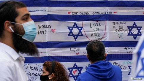 People participate in a pro-Israel rally at Times Square in New York City, May 12, 2021.