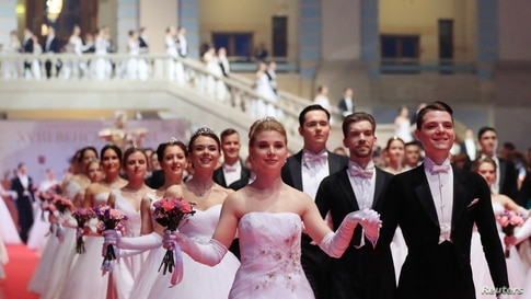 Participants dance during the 18th annual Viennese Ball charity event at Gostiny Dvor in Moscow, Russia, May 29, 2021.