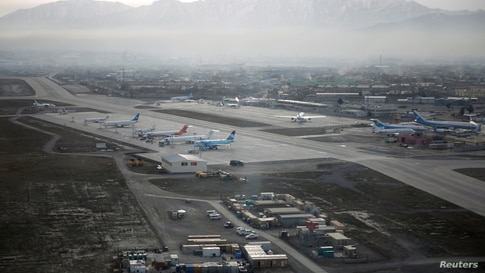 FILE - An aerial view of the Hamid Karzai International Airport in Kabul, previously known as Kabul International Airport, in Afghanistan, February 11, 2016.