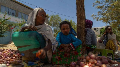A woman tries to sell tomatoes and onions on an almost empty market in Hawzen, Ethiopia, on June 6, 2021 (VOA/Yan Boechat)