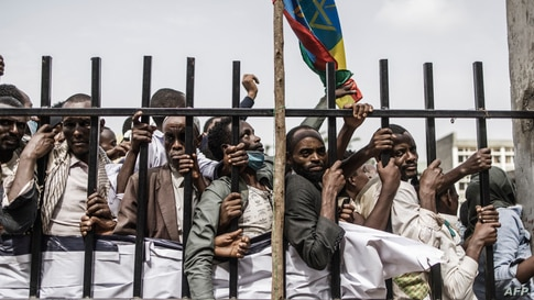 Supporters of Ethiopian Prime Minister Abiy Ahmed queue to enter the stadium in Jimma during his election campaign ahead of the June 21 vote.
