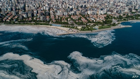 This aerial photograph in Turkey's Marmara Sea at a harbor on the shoreline of Istanbul shows mucilage, a jelly-like layer of slime that develops on the surface of the water due to the excessive proliferation of phytoplankton.