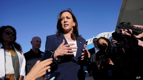 Vice President Kamala Harris talks to the media after stepping off Air Force Two, Friday, June 25, 2021, on arrival to El Paso, Texas.