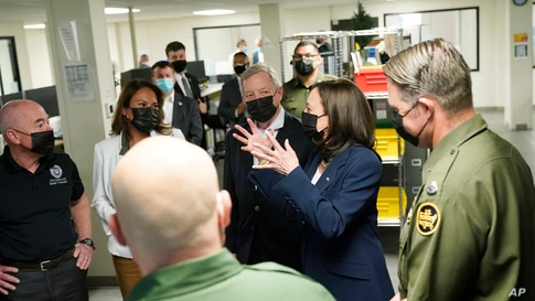 Vice President Kamala Harris tours the U.S. Customs and Border Protection Central Processing Center, June 25, 2021.