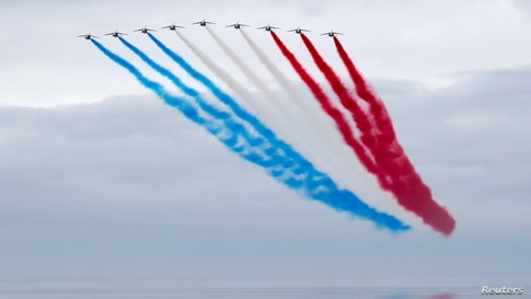 French Air Force Patrouille de France Team performs at the official opening ceremony of the British Normandy Memorial at Ver-sur-Mer, on the 77th anniversary of D-Day, France.