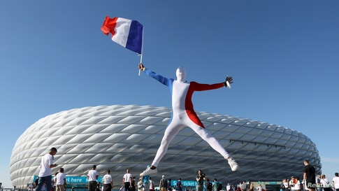French fans are seen outside the stadium before the soccer match of Euro 2020 Group F between France and Germany in Football Arena Munich in Munich, Germany.
