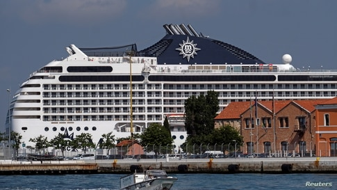 Cruise ship MSC Orchestra arrives in Venice despite protests demanding an end to cruise ships passing through the lagoon city in Venice, Italy.