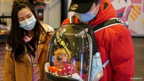 A man wearing a protective face mask pets his puppy inside a backpack while walking through the city centre during a lockdown…