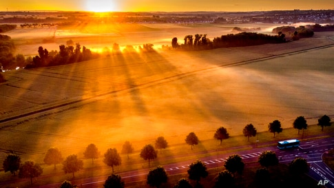 A bus is driven through an alley as the sun rises over fog covered field on the outskirts of Frankfurt, Germany, early Tuesday,…