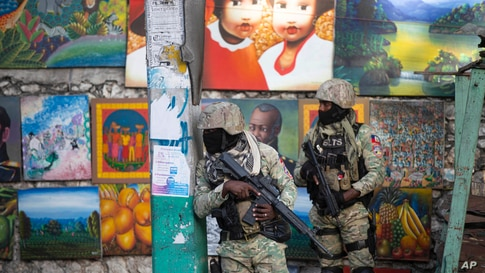 Soldiers patrol in Petion Ville, the neighborhood where the late Haitian President Jovenel Moise lived in Port-au-Prince, Haiti.