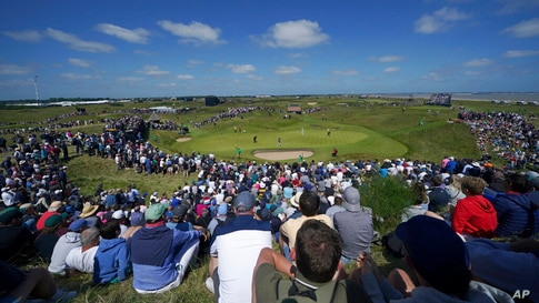 United States' Patrick Reed putts on the 6th green during the second round of the British Open Golf Championship at Royal St…