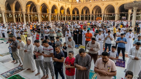 About 90 percent of Egyptians are Muslim, and this week they celebrate Eid al-Adha, a holiday in which livestock are slaughtered and some of the meat is distributed to the poor, Cairo, July 20, 2021. (VOA/Hamada Elrasam)