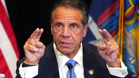 New York Gov. Andrew Cuomo speaks during a news conference at New York's Yankee Stadium, Monday, July 26, 2021. (AP Photo…