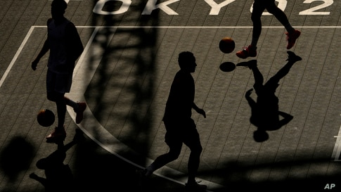 Athletes from the Netherlands practice for the 3x3 basketball competition at the 2020 Summer Olympics, Wednesday, July 21, 2021…