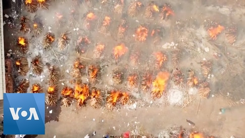 Bodies Burnes in Mass Cremation in India Amid COVID-19 Death Spike
