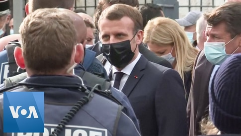 France's Macron Visits Church in Nice After Decapitation