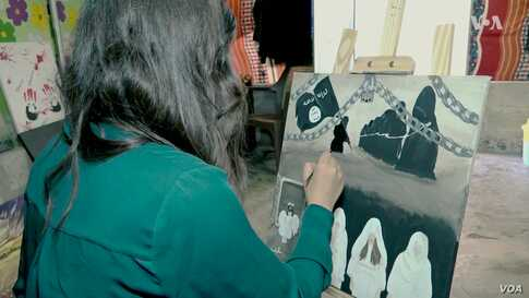 Displaced Yazidi Woman Paints Life After IS Genocide