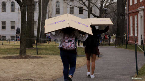 Students carry boxes to their dorms at Harvard University, after the school asked its students not to return to campus after…