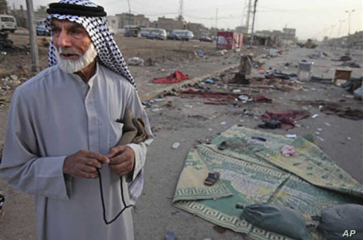 "An Iraqi man stands near a bombing site in Baghdad in August 2009. The book, ''The Strong Horse,"" asserts Arab culture is to blame for violence in the Middle East and for the failure of peace initiatives."