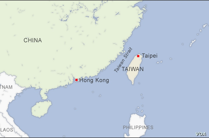 Map of Hong Kong China and Taipei Taiwan