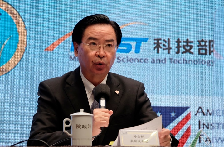 Taiwan's Foreign Minister Joseph Wu speaks during a press conference with American Institute in Taiwan director Brent…