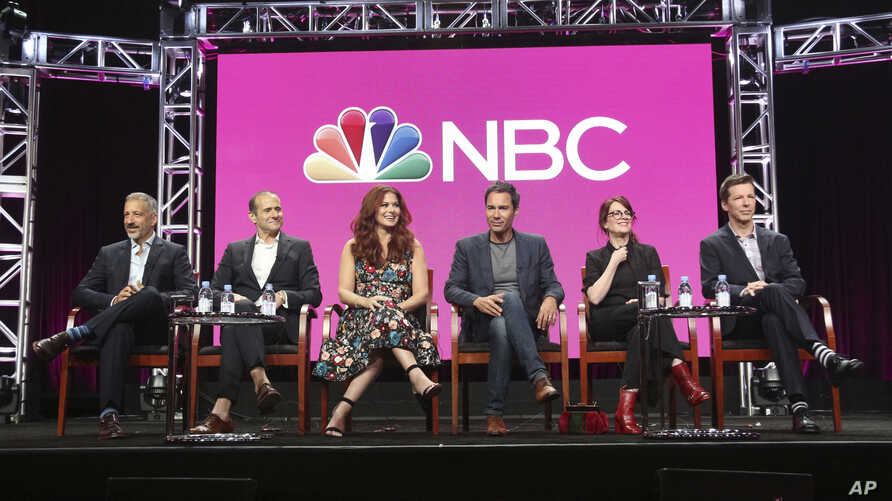 """FILE - Co-creator/executive producers David Kohan, from left, and Max Mutchnick and actors Debra Messing, Eric McCormack, Megan Mullally and Sean Hayes participate in the """"Will & Grace"""" panel during the NBC Television Critics Association Summer Press"""