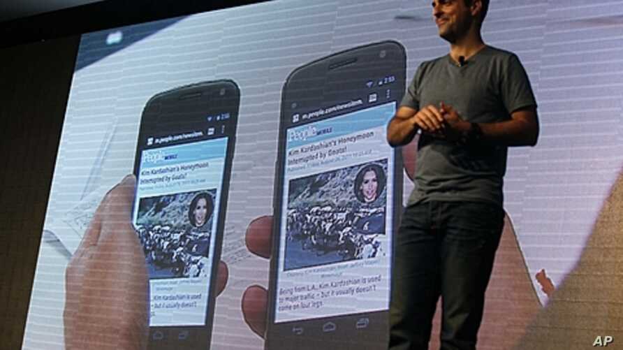 Hugo Barra, product management director of Android at Google, introduces the Android beam function of the new Galaxy Nexus smartphone during the news conference in Hong Kong, October 19, 2011.