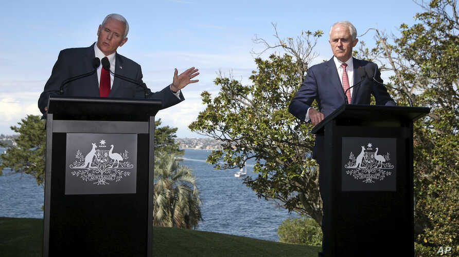 U.S. Vice President Mike Pence (left) speaks during a joint press conference with Australian Prime Minister Malcolm Turnbull in Sydney, April 22, 2017. Pence and Turnbull are joining forces in urging China to do more to pressure North Korea to drop i