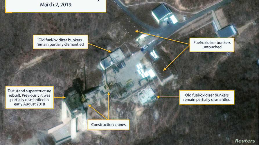 The Sohae Satellite Launching Station features what researchers of Beyond Parallel, a CSIS project, describe as the vertical engine stand partially rebuilt with two construction cranes, several vehicles and supplies laying on the ground in a commerci...