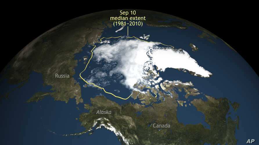 This image provided by the National Snow & Ice Data Center in 2016 shows that Arctic sea ice in the summer shrank to its second lowest level since scientists started to monitor it by satellite.