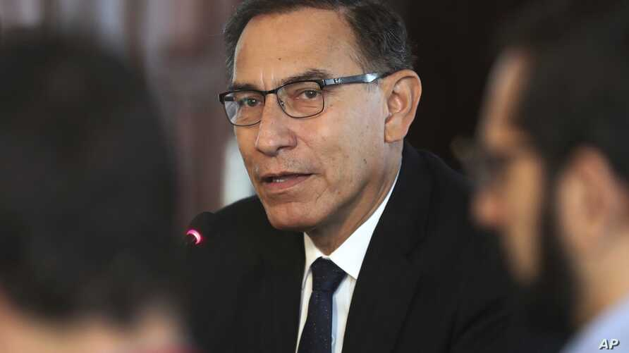 Peru's President Martin Vizcarra speaks during a press conference at the government palace in Lima, Peru, Oct. 29, 2018.