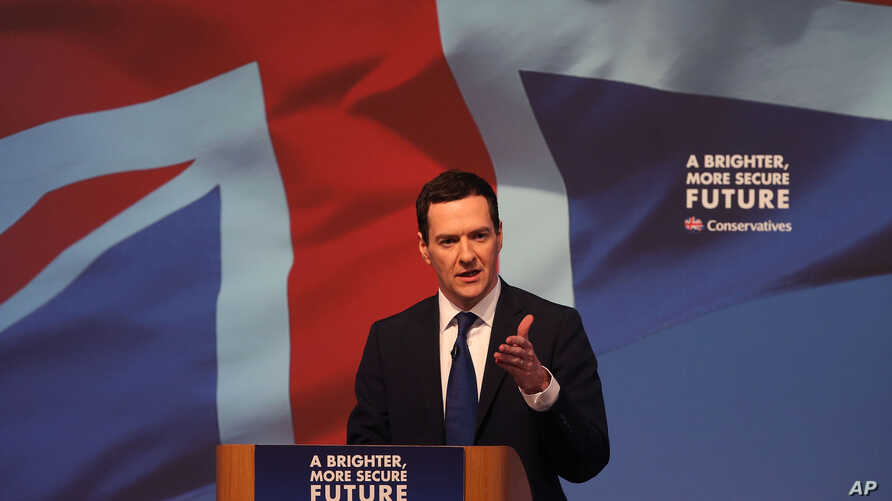 FILE - Britain's finance minister, George Osborne, is seen speaking to a meeting of Conservative party members in Swindon, England, April 14, 2015.