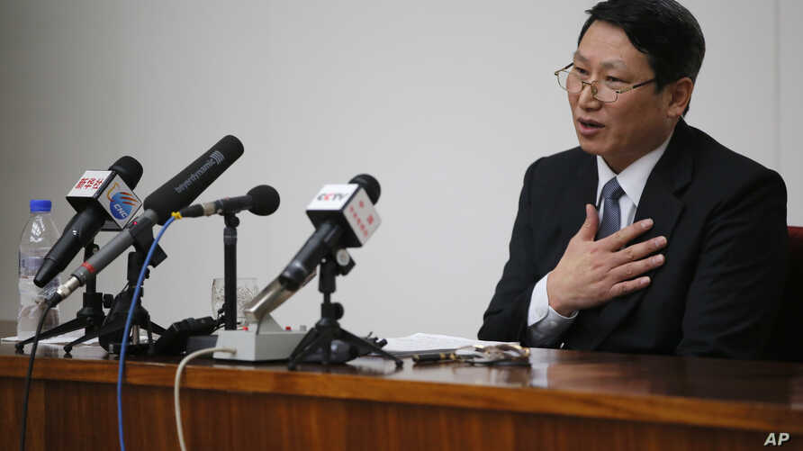 Kim Jung Wook, a South Korean Baptist missionary, speaks during a news conference in Pyongyang, North Korea, Feb. 27, 2014.