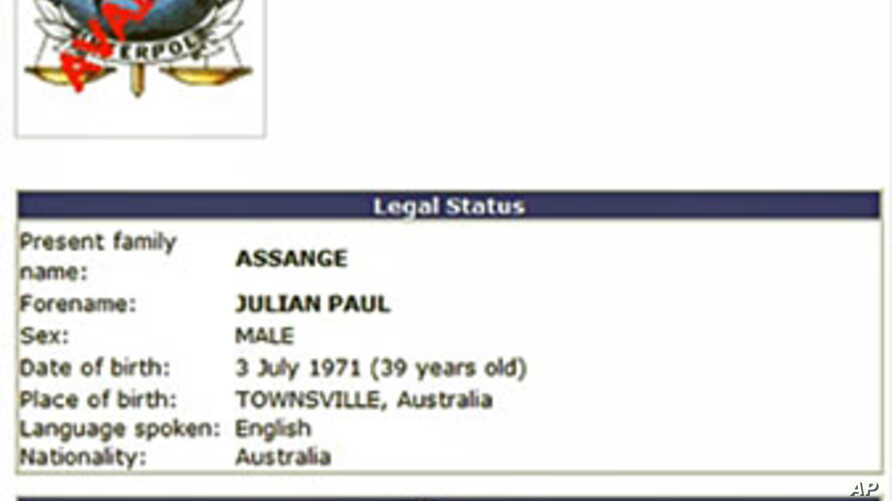 This screen grab of Interpol website taken on 01 Dec 2010 shows an Interpol public 'Red Notice' of Sweden's request for assistance in tracking down 39-year-old Australian WikiLeaks' founder Julian Assange (File)